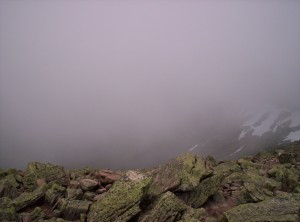 The view from Katahdin when fog surrounds the peak