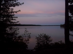A pink-and-purple cloudset across the lake from Antlers Campsite