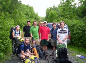 A motley crew of hikers heading out of Monson