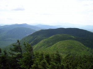 A view from Old Speck Mountain toward the depression where Speck Pond lies