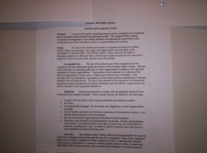 The Gorham library's usage policies for their computers, which arguably unconstitutionally forbid a number of uses