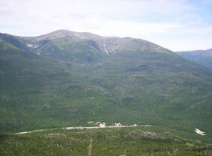A view from Wildcat Ridge down to Pinkham Notch Visitor's Center, with Mount Washington in the background