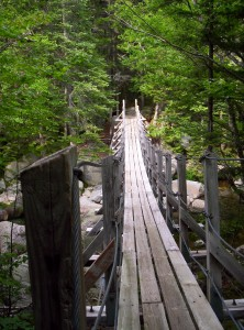 A large wooden footbridge across a stream just north of Mount Madison