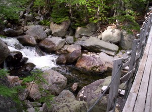 To the left are large rocks and some water, but nothing someone couldn't hop over (or through, for a short bit)