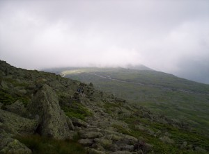 Inching closer to the summit and into the clouds