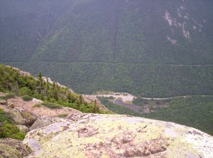 Looking down from Mount Webster on the AMC's Highland Center