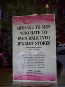 A long message to entice men to enter a jewelry store
