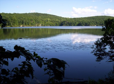 A view across Nuclear Lake, which is clearer and more perfectly reflective than this picture demonstrates