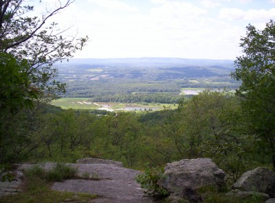 A view south toward a nature preserve around which the trail travels