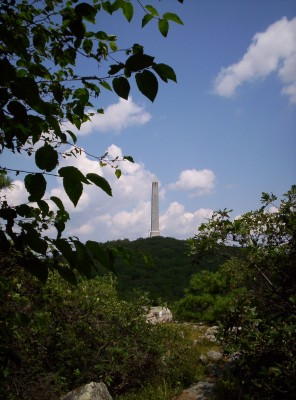A view of High Point Monument from the east (trail-north of it on the Appalachian Trail)