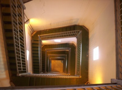 A square, counterclockwise spiral of 291 steps down through High Point Monument to its base