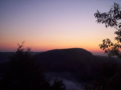 A sunrise view of Mount Tammany back in New Jersey