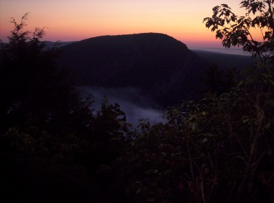 Mount Tammany at sunrise with the Delaware Valley below