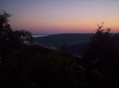 Early-morning view to the north from just south of the Delaware Water Gap