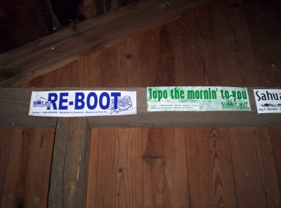 Two bumper stickers: RE-BOOT, and Topo the morning to you
