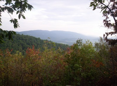 A morning view into the distance over autumn-colored brush and forested hillsides