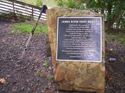 A memorial to William Foot, to whom the bridge is dedicated