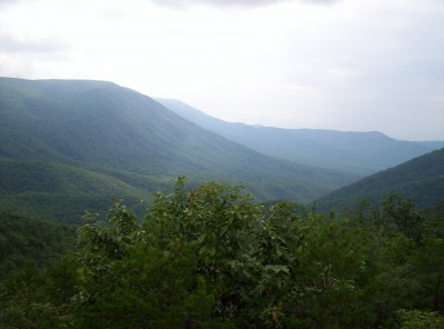 A valley south of the James River on the trail