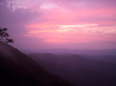 A purple-and-pink sunset over a valley in George Washington National Forest