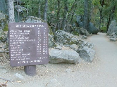 The John Muir Trail trailhead sign: 211 miles to Mount Whitney