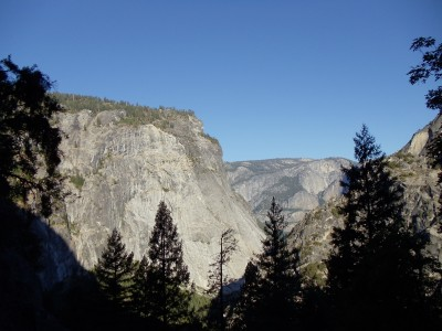 A view back toward Yosemite Valley shortly into the hike