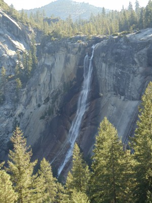 Nevada Falls from the approach on the John Muir Trail, a short distance away and from a slightly higher elevation
