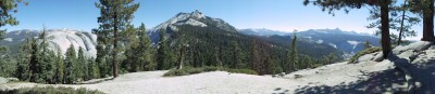 A panorama view from just off-trail, shortly before real ascent starts (and well before the surreal ascent); the view is roughly level with the mountains surrounding Yosemite Valley