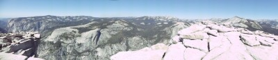 A panorama near one of the sheerer cliffs of Half Dome