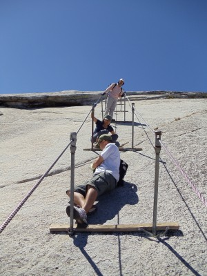 On the cables looking up Half Dome
