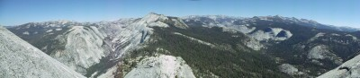The surrounding mountains and valleys, facing forward during the descent of Half Dome
