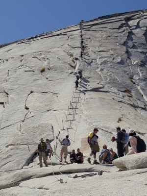 The final Half Dome ascent, from closer to it; it's a little less steep in this view as I'm more level with the base of the ascent