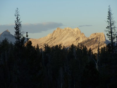 Echo Peaks and Matthes Crest, with a sunset glow