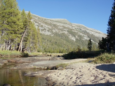 South down Lyell Canyon as I gather and purify water, viewing Kuna Crest