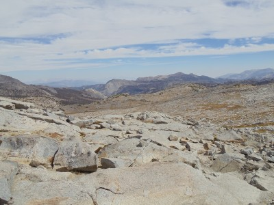 Atop Donohue Pass, covered in small granite rocks, looking south down the trail, as I recall