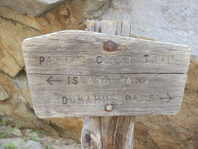 A signpost on the JMT and PCT; Island Pass where I'm heading is to the left, Donohue Pass from which I just came is to the right