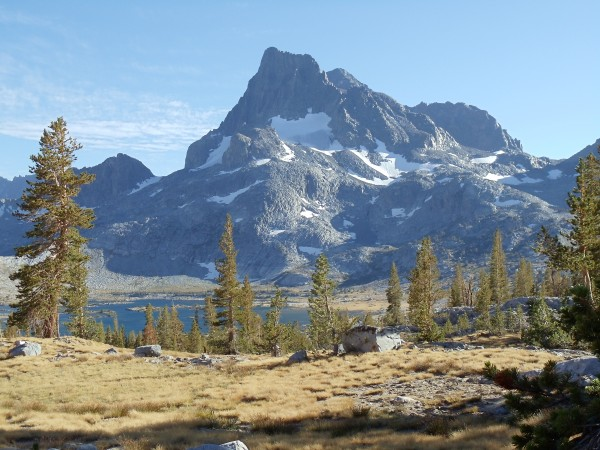 Banner Peak towers over Thousand Island Lake