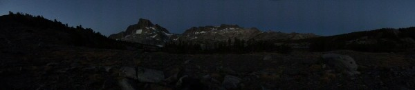 A pre-dawn panorama from my campsite of Banner Peak and the surrounding area