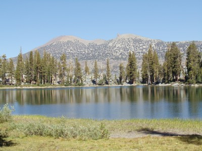 Looking across Shadow Lake toward mountains within a few miles of it