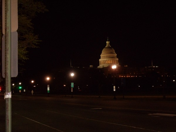 The US Capitol at night from Constitution Avenue, northeast of Capitol Hill
