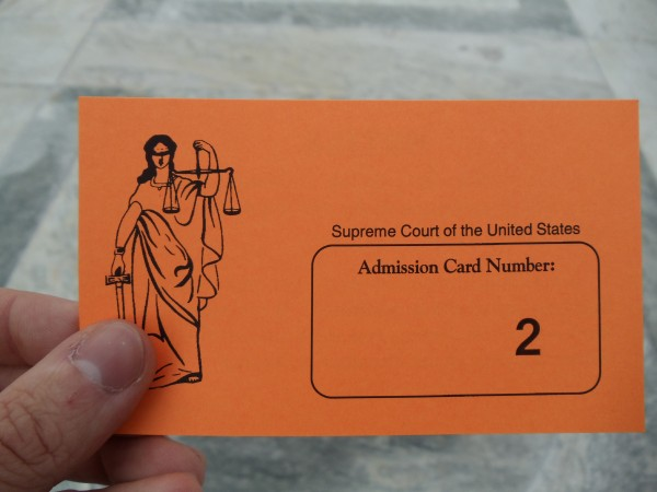 Admission card #2 for entry to Supreme Court oral argument
