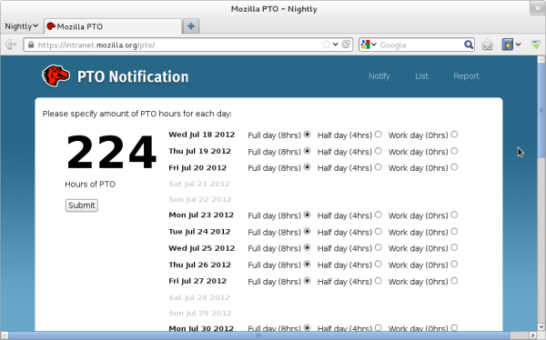 Screenshot of a browser showing Mozilla&#039;s PTO app, indicating 224 hours of PTO starting July 18