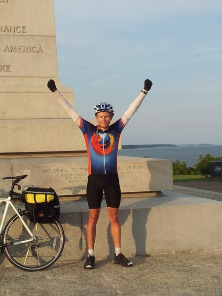 Me in the traditional arms-upraised pose, next to my bike and (appropriately) the Victory Monument at Yorktown, with the Chesapeake Bay (and the Atlantic Ocean) in the background