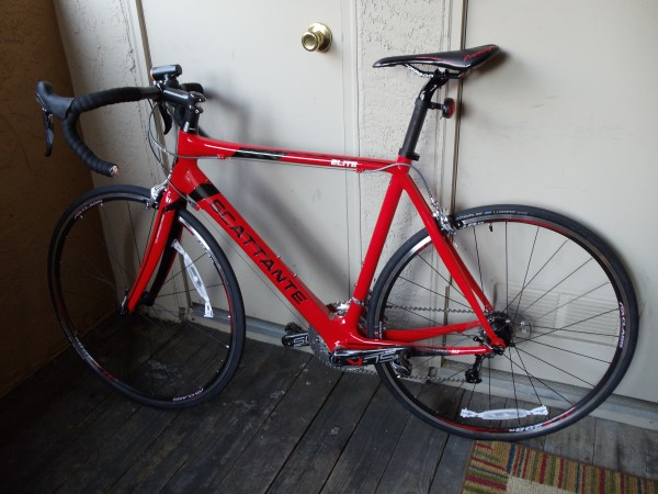 A red carbon-fiber racing bike