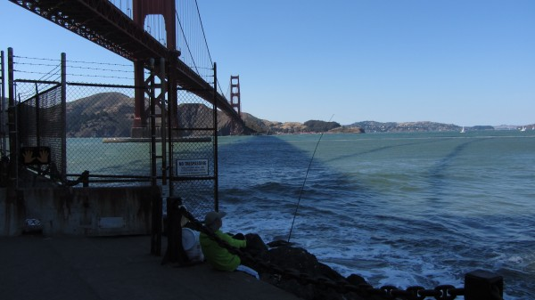 A view across to Marin from underneath the right side of the Golden Gate bridge
