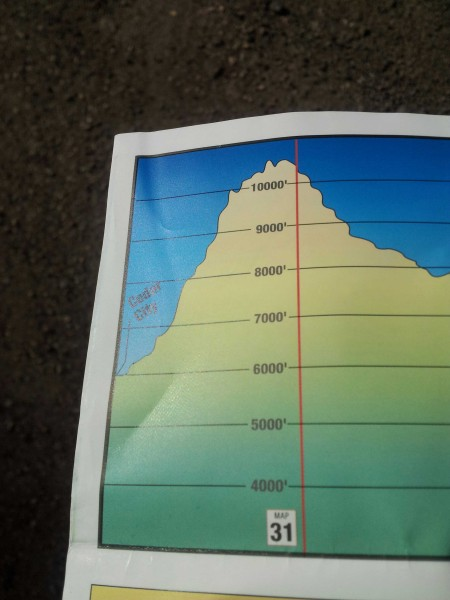 Elevation profile from Cedar City, Utah to the top of a 4000ft, 25mi climb