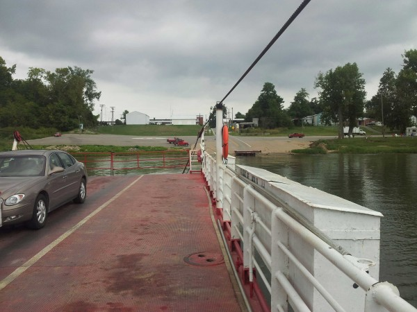 Looking back toward Cave-In-Rock, Illinois from the public ferry across the Ohio River
