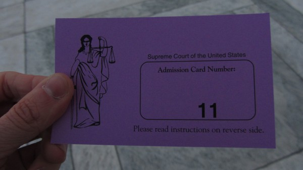 Supreme Court of the United States: Admission Card Number: 11
