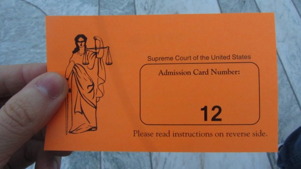 The #12 admission card