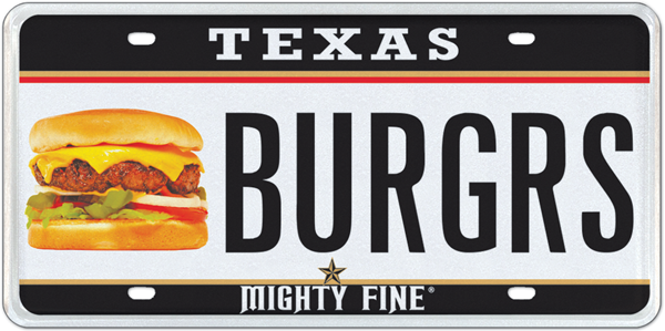 The Texas-approved Mighty Fine Burger specialty plate