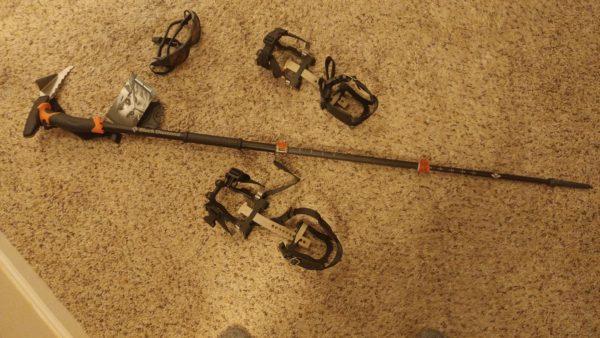 New equipment I've had to pick up for the PCT: crampons; wraparound, UV-blocking, polarized sunglasses; crampons
